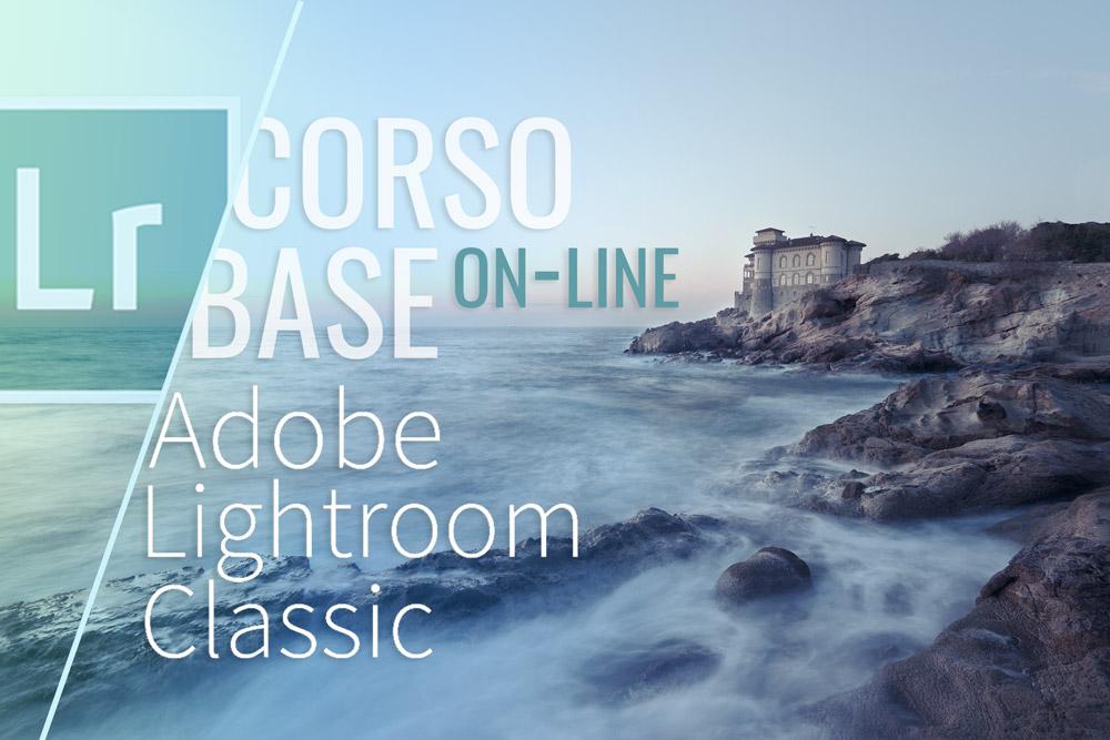 Grafica di presentazione con ambientazione marina e castello nello sfondo per promozione di corso online di Lightroom in Trentino Alto Adige.